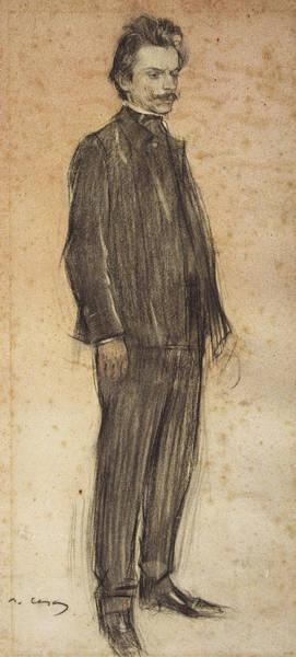 Chestnut Hair Drawing - Portrait Of Enric Morera by Ramon Casas