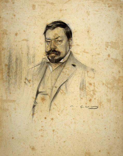 Chestnut Hair Drawing - Portrait Of Enric Serra by Ramon Casas