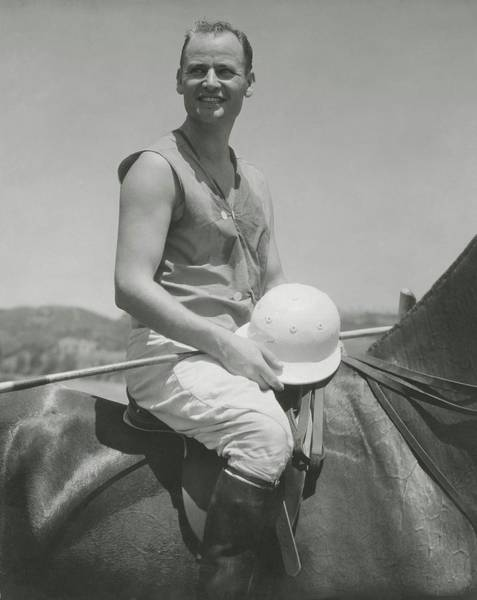 Helmet Photograph - Portrait Of Eric Pedley Sitting On A Horse by Edward Steichen