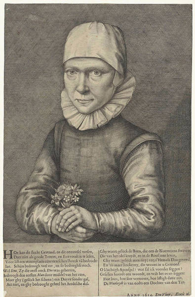 Crone Wall Art - Drawing - Portrait Of Eva Vliegen by Andries Jacobsz. Stock And Balthasar Flessiers
