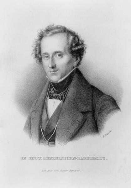 Tie Drawing - Portrait Of Felix Mendelssohn Designed by