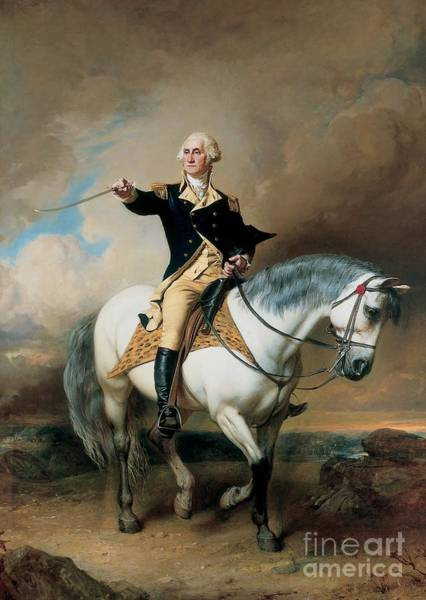 Horseback Wall Art - Painting - Portrait Of George Washington Taking The Salute At Trenton by John Faed