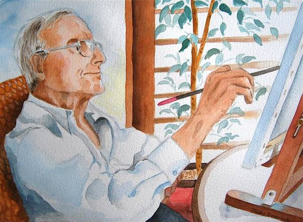Wall Art - Painting - Portrait Of Gerald Goldstein by Judy Swerlick