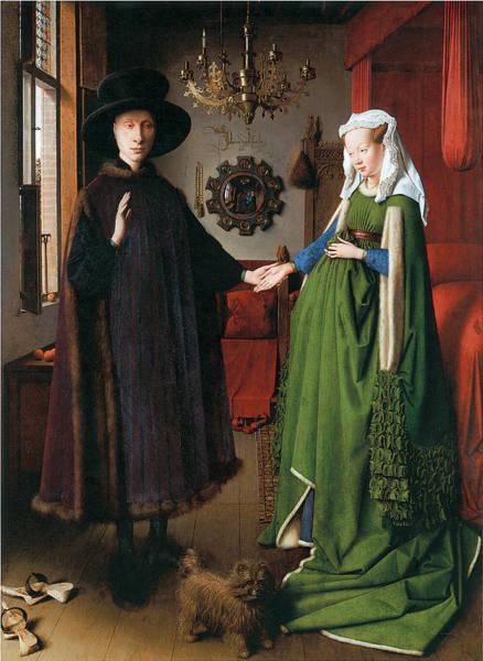 Arnolfini Painting - Portrait Of Giovanni Arnolfini And His Wife by Jan Van Eyck