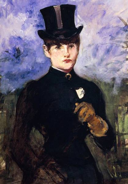 Casual Painting - Portrait Of Horsewoman by Edouard Manet