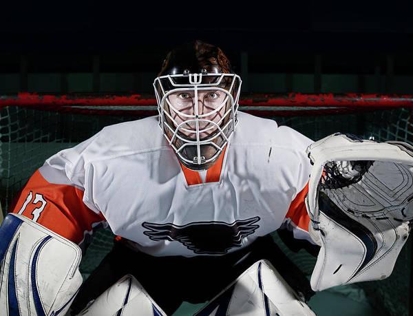 Sport Photograph - Portrait Of Ice Hockey Goaltender by Mike Harrington