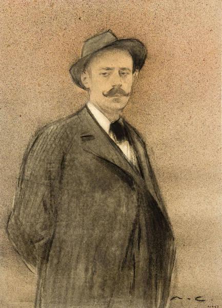Chestnut Hair Drawing - Portrait Of Ignacio Zuloaga by Ramon Casas