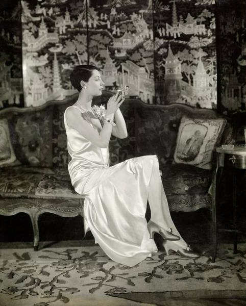 Mirror Photograph - Portrait Of Ilka Chase Wearing Dress By Chanel by Charles Sheeler
