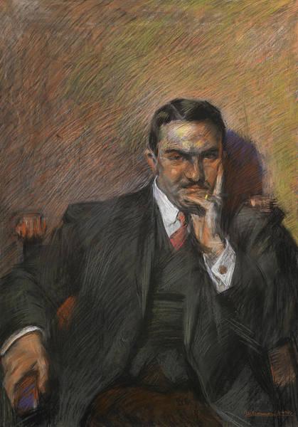 Boccioni Wall Art - Pastel - Portrait Of Innocenzo Massimino by Umberto Boccioni