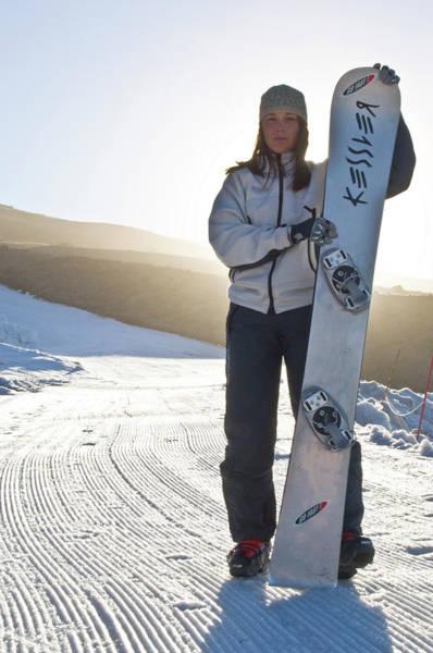 Timberline Photograph - Portrait Of Irish American Snowboarder by Heath Korvola