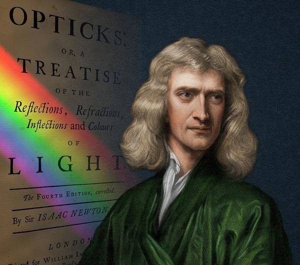 Wavelength Photograph - Portrait Of Isaac Newton With Spectrum by David Parker