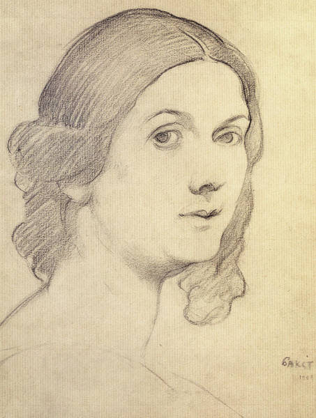 Beautiful Girl Drawing - Portrait Of Isadora Duncan by Leon Bakst