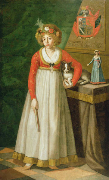 Elegant Dog Painting - Portrait Of Isidore, 1810 by Mexican School