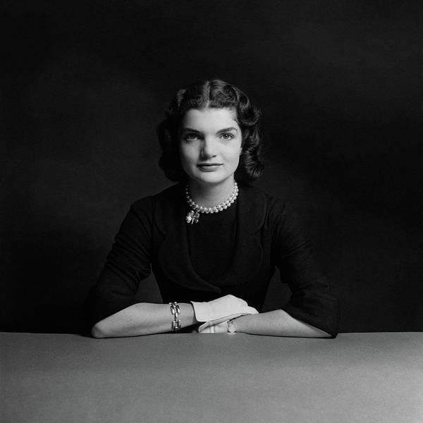 Posing Photograph - Portrait Of Jacqueline Bouvier by Richard Rutledge