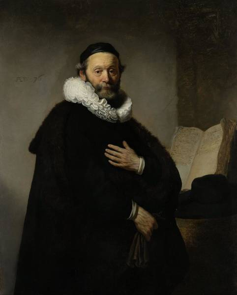 Protestant Photograph - Portrait Of Johannes Wtenbogaert, 1633 Oil On Canvas by Rembrandt Harmensz. van Rijn