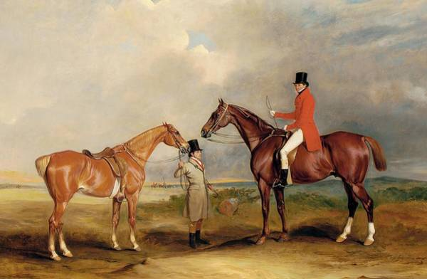 Huntsmen Wall Art - Painting - Portrait Of John Drummond On A Hunter With A Groom Holding His Second Horse by John E Ferneley