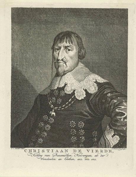 Wall Art - Drawing - Portrait Of King Christian Iv Of Denmark by Jacob Houbraken