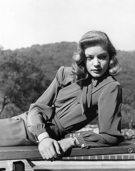 Lying Down Photograph - Portrait Of Lauren Bacall by Crane Ralph