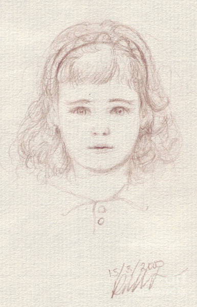 Drawing - Portrait Of Little Girl by Russell Kightley
