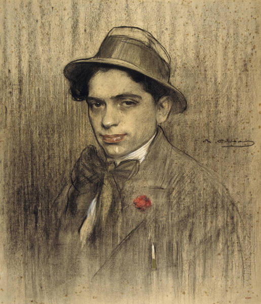 Chestnut Hair Drawing - Portrait Of Lluis Bagaria by Ramon Casas