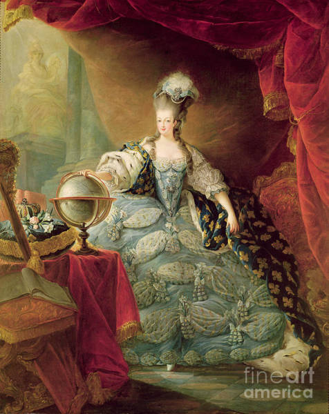 Ermine Wall Art - Painting - Portrait Of Marie Antoinette Queen Of France by Jean-Baptise Andre Gautier DAgoty
