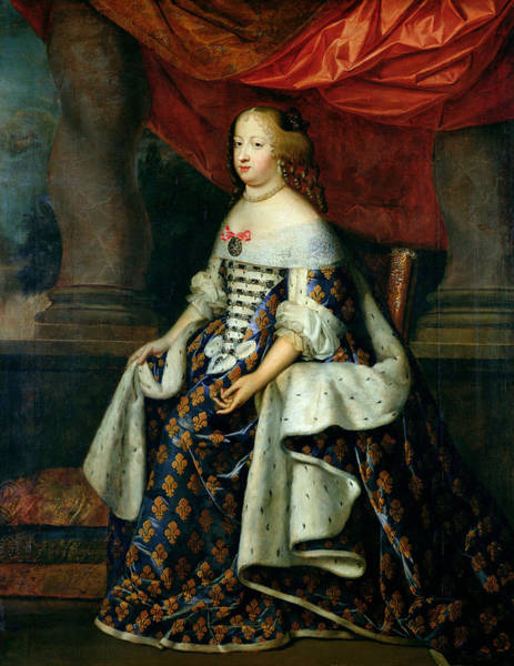 Ermine Wall Art - Photograph - Portrait Of Marie-therese 1638-83 Of Austria, After 1660 Oil On Canvas by Charles Beaubrun