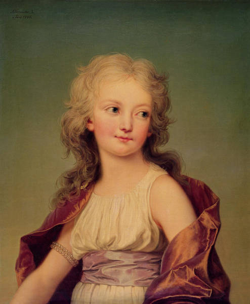 Daughter Photograph - Portrait Of Marie-therese Charlotte Of France 1778-1851 Duchess Of Angouleme, 1786 Oil On Canvas by Adolf Ulrich Wertmuller