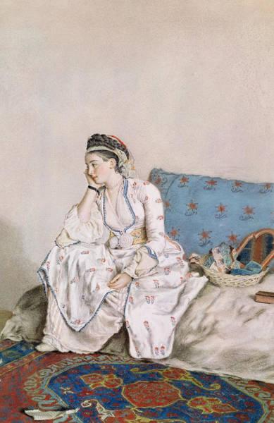 Jean Etienne Liotard Wall Art - Painting - Portrait Of Mary Gunning by Jean-Etienne Liotard