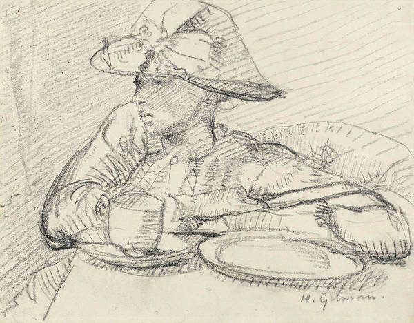 Saucer Drawing - Portrait Of Mary L by Harold Gilman