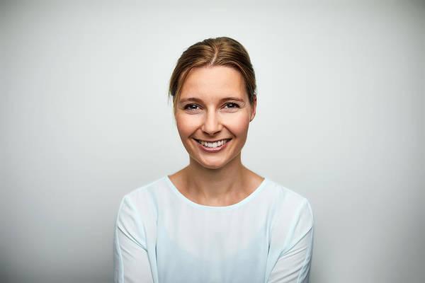 Portrait Of Mid Adult Businesswoman Smiling Art Print by Morsa Images