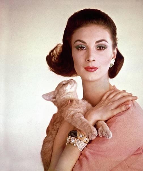 Cats Photograph - Portrait Of Model Wilhelmina Cooper by Karen Radkai