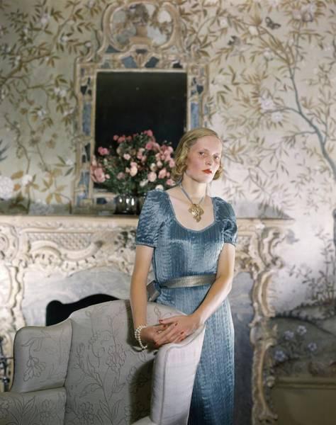 Blue Flower Photograph - Portrait Of Mrs. George H. Bostwick by Horst P. Horst