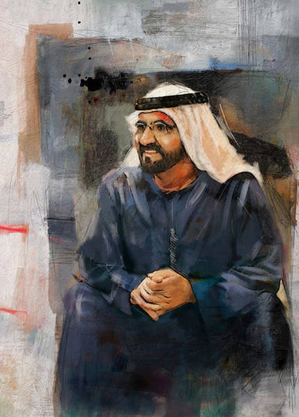 Bin Wall Art - Painting - Portrait Of Muhammad Bin Rashid Al Maktoum 2 by Maryam Mughal