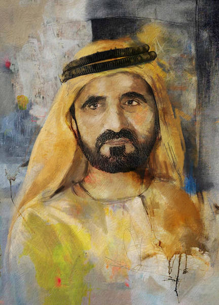 Bin Wall Art - Painting - Portrait Of Muhammad Bin Rashid Al Maktoum by Maryam Mughal