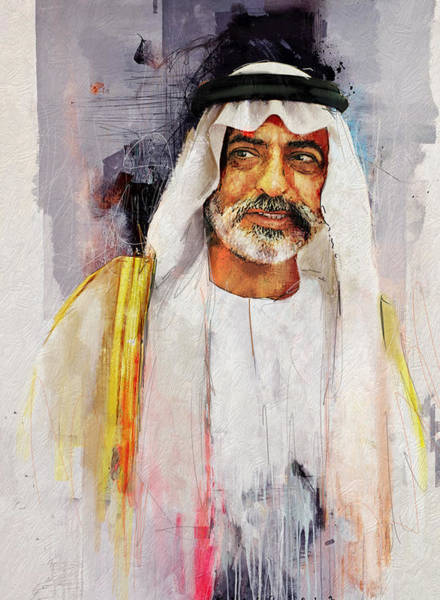 Bin Wall Art - Painting - Portrait Of Nahyan Bin Mubarak Al Nahyan by Maryam Mughal