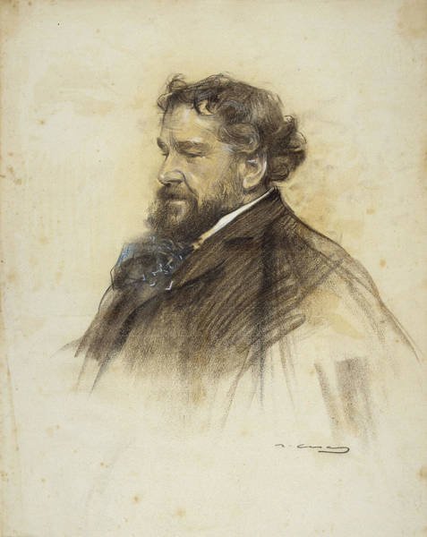 Chestnut Hair Drawing - Portrait Of Octave Uzanne by Ramon Casas
