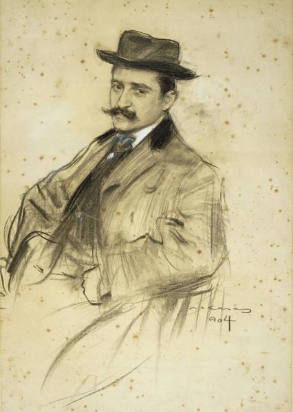 Chestnut Hair Drawing - Portrait Of Oleguer Junyent by Ramon Casas