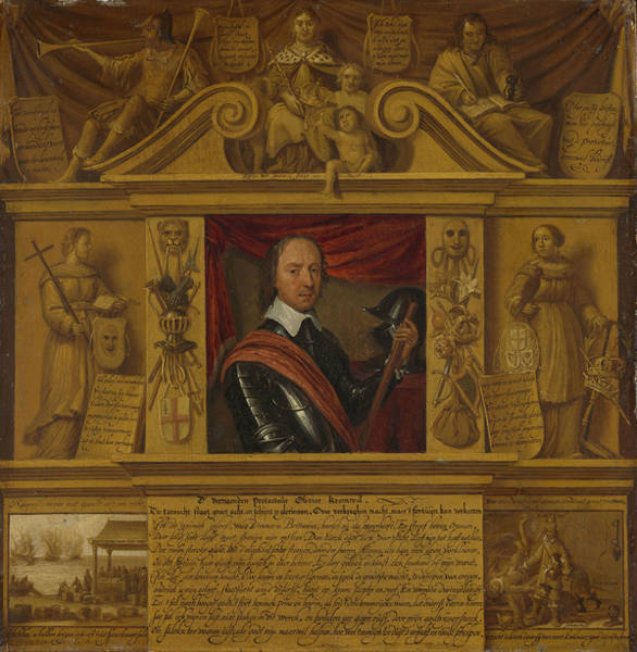 Allegorical Figure Drawing - Portrait Of Oliver Cromwell, In A Frame With Allegorical by Litz Collection