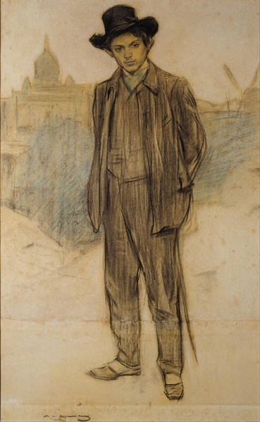 Chestnut Hair Drawing - Portrait Of Pablo Picasso by Ramon Casas