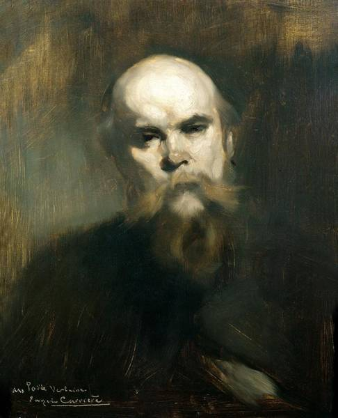 Moustaches Photograph - Portrait Of Paul Verlaine 1844-96 1890 Oil On Canvas by Eugene Carriere