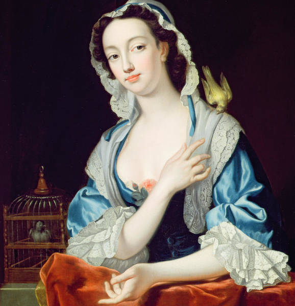 Canaries Painting - Portrait Of Peg Woffington by Jean-Baptiste van Loo