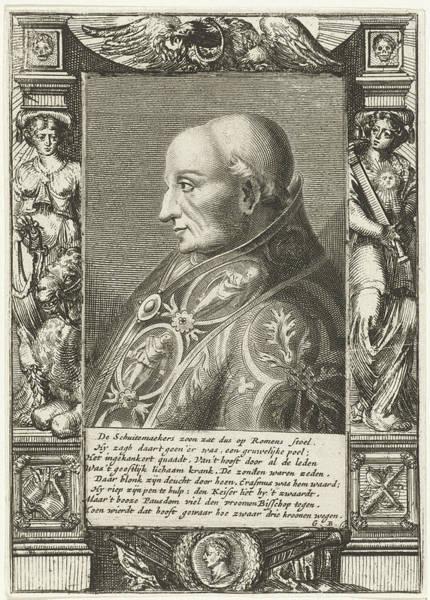 Allegorical Figure Drawing - Portrait Of Pope Adrian Vi, Hendrik Bary by Hendrik Bary And Geeraert Brandt (i)