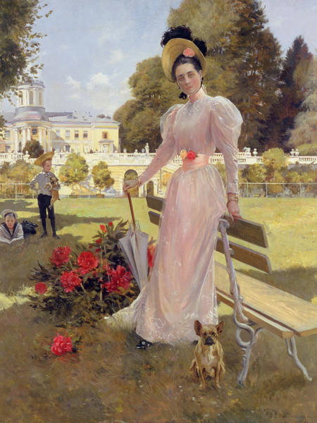 Elegant Dog Painting - Portrait Of Princess Z.n Yusupova With Her Two Sons At Arkhangelskoe by Francois Flameng