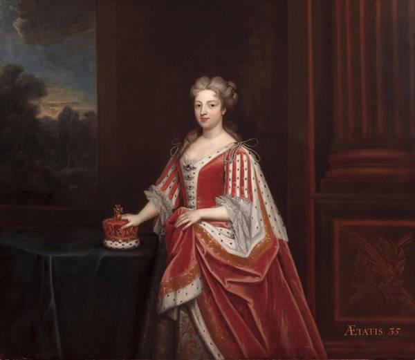Ermine Wall Art - Painting - Portrait Of Queen Caroline Wilhelmina by Enoch Seeman