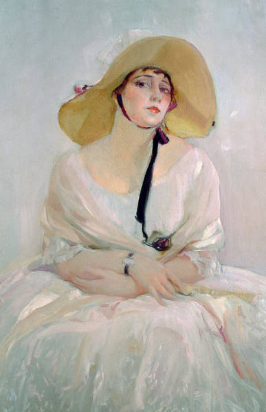Bonnet Painting - Portrait Of Raquel Meller by Joaquin Sorolla y Bastida