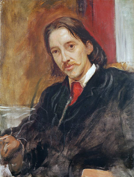 Moustaches Photograph - Portrait Of Robert Louis Stevenson 1850-1894 1886 Oil On Canvas by Sir William Blake Richmond