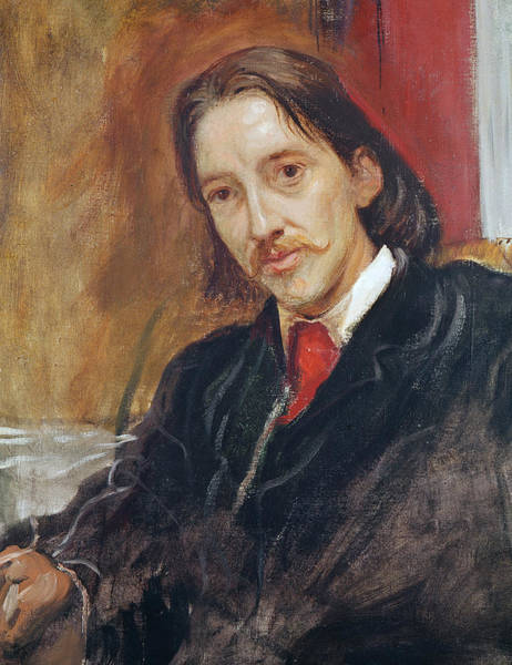 Mustache Painting - Portrait Of Robert Louis Stevenson by Sir William Blake Richomond