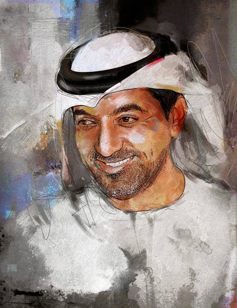 Bin Wall Art - Painting - Portrait Of Sheikh Ahmed Bin Saeed Al Maktoum 2 by Maryam Mughal