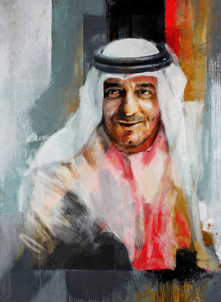 Bin Wall Art - Painting - Portrait Of Sheikh Ahmed Bin Saeed Al Maktoum 3 by Maryam Mughal