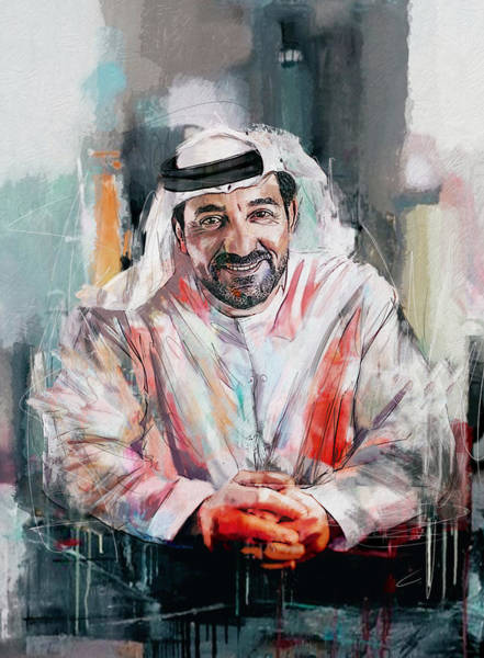 Bin Wall Art - Painting - Portrait Of Sheikh Ahmed Bin Saeed Al Maktoum  by Maryam Mughal